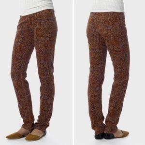 Prana trinity paisley corduroy print pants sz 6